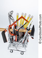 tool in a shopping cart - hand tools in a shopping cart,...