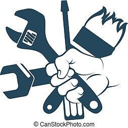 Tool in hand - Tool for repair in hand symbol