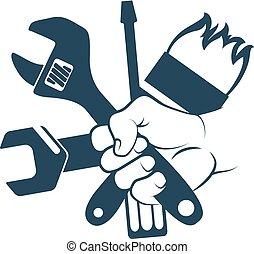 Tool in hand - Tool for repair in hand symbol
