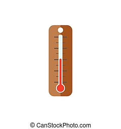 tool., jardin, plat, simple, arrière-plan., thermomètre, blanc, style., icône