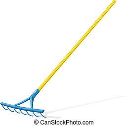 tool., jardin, rake.