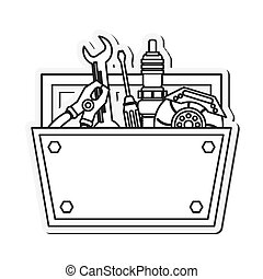 tool kit box repair construction instrument icon. Flat and isolated design. Vector illustration