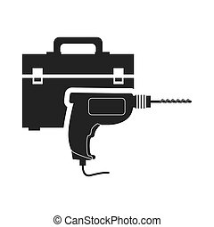 drill tool kit box repair construction silhouette icon. Flat and Isolated design. Vector illustration