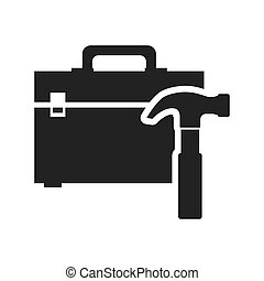 hammer tool kit box repair construction silhouette icon. Flat and Isolated design. Vector illustration