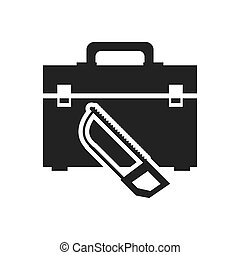 saw tool kit box repair construction silhouette icon. Flat and Isolated design. Vector illustration