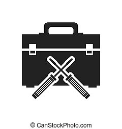 screwdriver tool kit box repair construction silhouette icon. Flat and Isolated design. Vector illustration