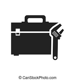 wrench tool kit box repair construction silhouette icon. Flat and Isolated design. Vector illustration