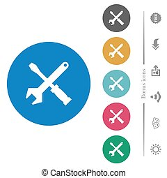 Tool kit flat white icons on round color backgrounds. 6 bonus icons included.