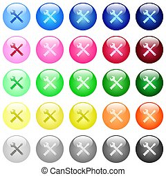 Tool kit icons in set of 25 color glossy spherical buttons