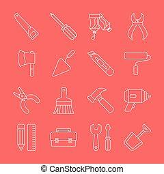 Tool line icon set