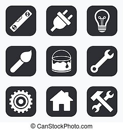 tool., młot, icons., zbudowanie, szarpnąć, naprawa