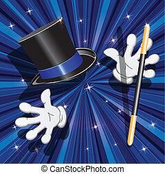 tool magician - illustration, magic cylinder and magic stick...