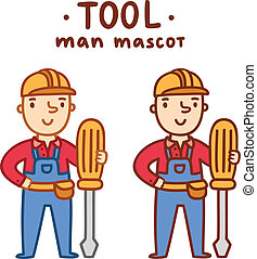 Tool man mascot in two outline variations, vector illustration