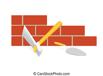 tool mason - The tool of the mason. A hammer and trowel