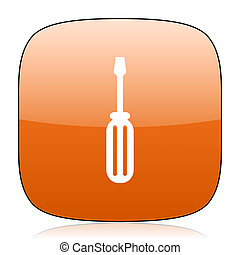 tool orange square web design glossy icon