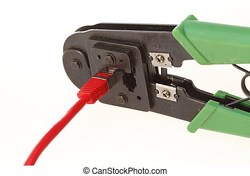 Tool - Crimping tool with RJ45 jack. Isolated on white.
