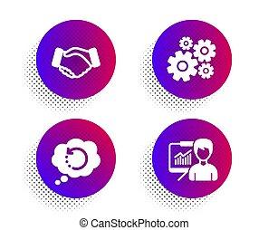 tool., recuperação, negócio, ícones, mão, apresentação, sinal., aperto mão, dados, engenharia, vetorial, info, apoio, cogwheel, set.