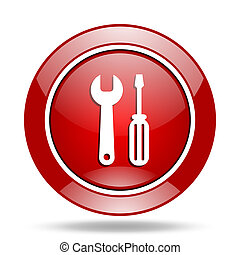 tool red web glossy round icon