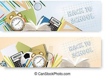 tool., schule, zurück, überlagert, vector., vorräte, banner