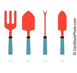 tool., set, giardinaggio