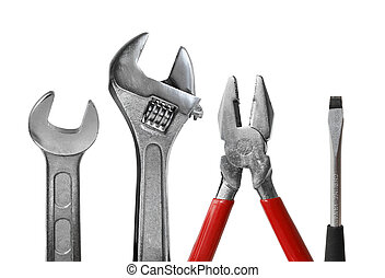 Tool set of wrench, adjustable spanner, pliers and screwdriver isolated on white background