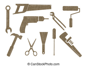 Tool shapes - Ten textured tool shapes on a white background