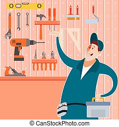 Tool shed with worker - Vector image of a tool shed with ...