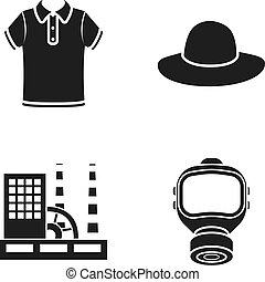 tool, textiles, ecology and other web icon in black style. gas mask, protection icons in set collection.