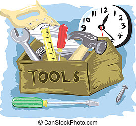 Tool Time - Cartoon of tool box with clock in the background