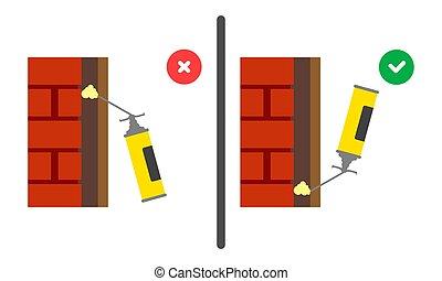 tool., uso, casa, vector, mal, cylinder., poliuretano, ...