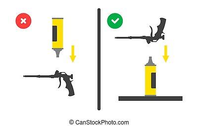 tool., uso, vector, mal, globo, posición, derecho, montaje, ...