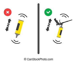 tool., uso, vector, mal, globo, posición, derecho, shaking...