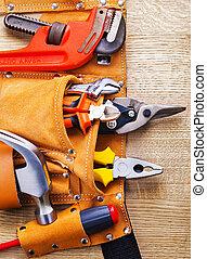 toolbelt, met, bouwsector, toolshammer, schroevendraaier,...