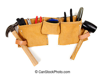Toolbelt with tools - A brown leather toolbelt with assorted...