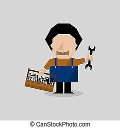 toolbox., arbetare, man