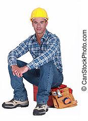 toolbox., baugewerbe, seine, arbeiter, sitzen