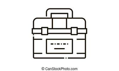 Toolbox Case Icon Animation. black Toolbox Case animated icon on white background