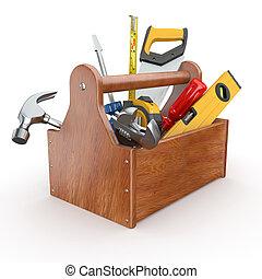 toolbox, con, tools., skrewdriver, martello, sega mano, e, strappare
