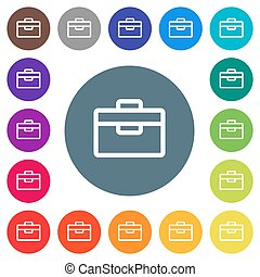 Toolbox flat white icons on round color backgrounds