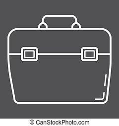 toolbox, fodra, ikon, bygga, och, reparera, toolkit, underteckna, vektor, grafik, a, linjär, mönster, på, a, svart fond, eps, 10.