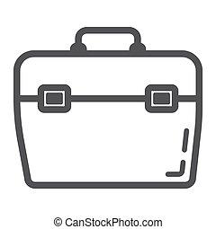 toolbox, fodra, ikon, bygga, och, reparera, toolkit, underteckna, vektor, grafik, a, linjär, mönster, på, a, vit fond, eps, 10.