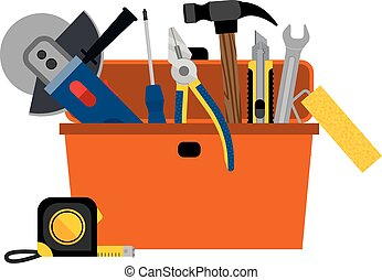 Toolbox for DIY house repair and home renovation with power ...