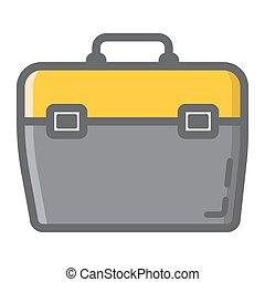 toolbox, fyllt, skissera, ikon, bygga, och, reparera, toolkit, underteckna, vektor, grafik, a, färgrik, förfaringssätt mönstra, på, a, vit fond, eps, 10.