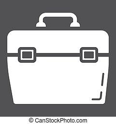 toolbox, glyph, ikon, bygga, och, reparera, toolkit, underteckna, vektor, grafik, a, fast, mönster, på, a, svart fond, eps, 10.