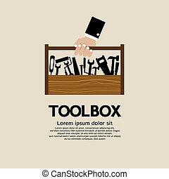 toolbox., holdingen, mekaniker, hand