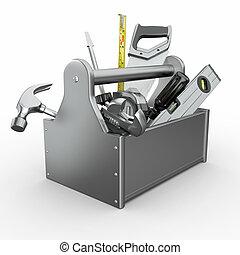 toolbox, hos, tools., skrewdriver, hammer, håndsave, og, wrench.