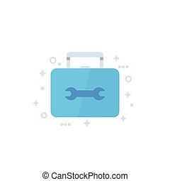 Toolbox icon, flat vector
