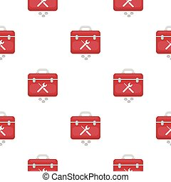 Toolbox icon in cartoon style isolated on white background. Plumbing pattern stock vector illustration.