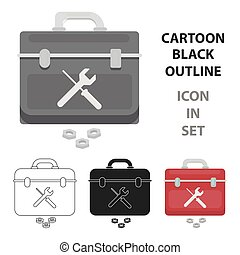 Toolbox icon in cartoon style isolated on white background. Plumbing symbol stock vector illustration.