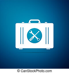 Toolbox icon isolated on blue background. Flat design. Vector Illustration